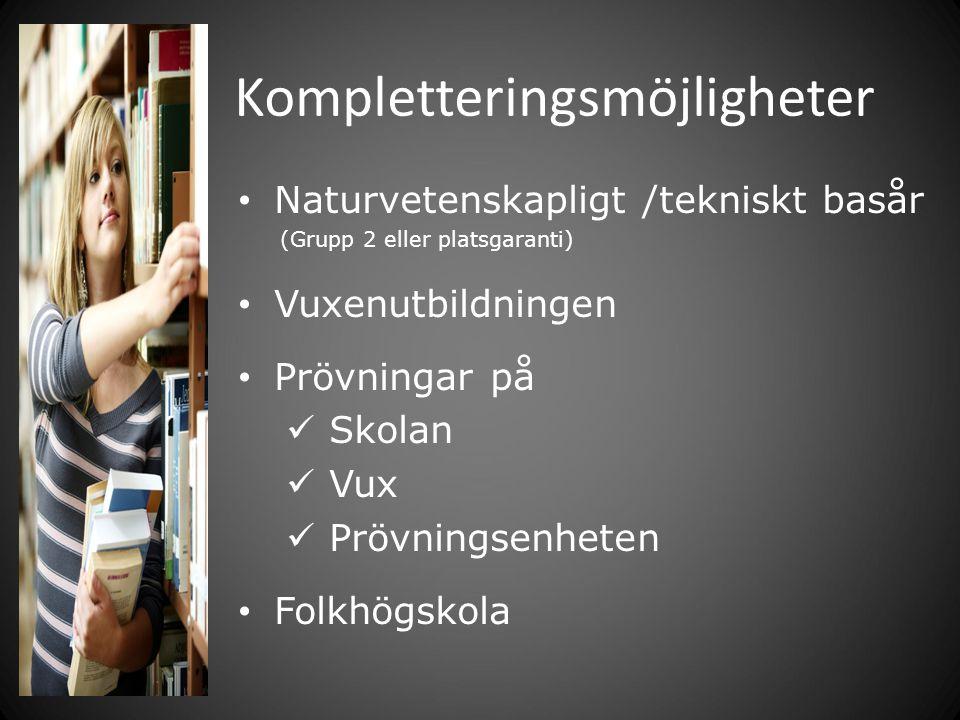 Kompletteringsmöjligheter Naturvetenskapligt /tekniskt basår (Grupp 2 eller platsgaranti) Vuxenutbildningen Prövningar på Skolan Vux Prövningsenheten Folkhögskola