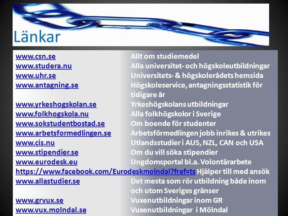 Länkar www.csn.sewww.csn.se Allt om studiemedel www.studera.nuwww.studera.nu Alla universitet- och högskoleutbildningar www.uhr.seUniversitets- & högskolerådets hemsida www.uhr.se www.antagning.sewww.antagning.se Högskoleservice, antagningsstatistik för tidigare år www.yrkeshogskolan.sewww.yrkeshogskolan.se Yrkeshögskolans utbildningar www.folkhogskola.nuwww.folkhogskola.nu Alla folkhögskolor i Sverige www.sokstudentbostad.sewww.sokstudentbostad.se Om boende för studenter www.arbetsformedlingen.sewww.arbetsformedlingen.se Arbetsförmedlingen jobb inrikes & utrikes www.cis.nuwww.cis.nu Utlandsstudier i AUS, NZL, CAN och USA www.stipendier.sewww.stipendier.se Om du vill söka stipendier www.eurodesk.euwww.eurodesk.euUngdomsportal bl.a.