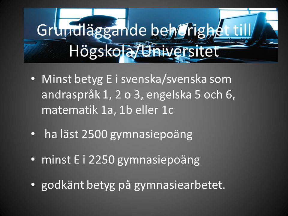 Grundläggande behörighet till Högskola/Universitet Minst betyg E i svenska/svenska som andraspråk 1, 2 o 3, engelska 5 och 6, matematik 1a, 1b eller 1c ha läst 2500 gymnasiepoäng minst E i 2250 gymnasiepoäng godkänt betyg på gymnasiearbetet.