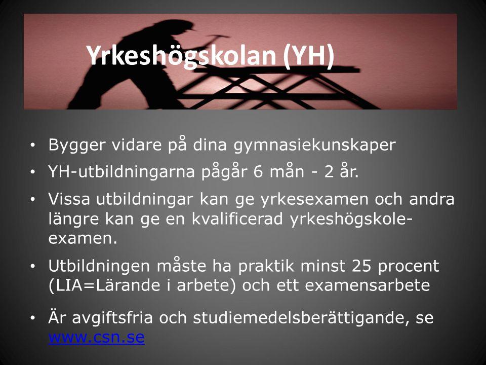 Yrkeshögskolan (YH) Bygger vidare på dina gymnasiekunskaper YH-utbildningarna pågår 6 mån - 2 år. Vissa utbildningar kan ge yrkesexamen och andra läng