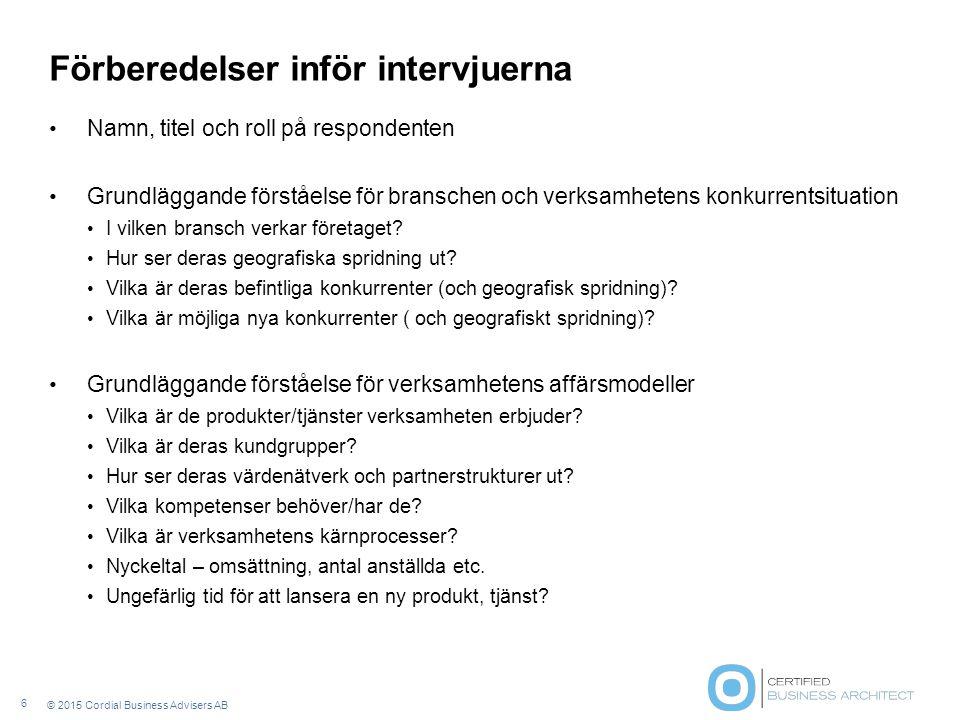 Intervjuunderlag och frågeställningar