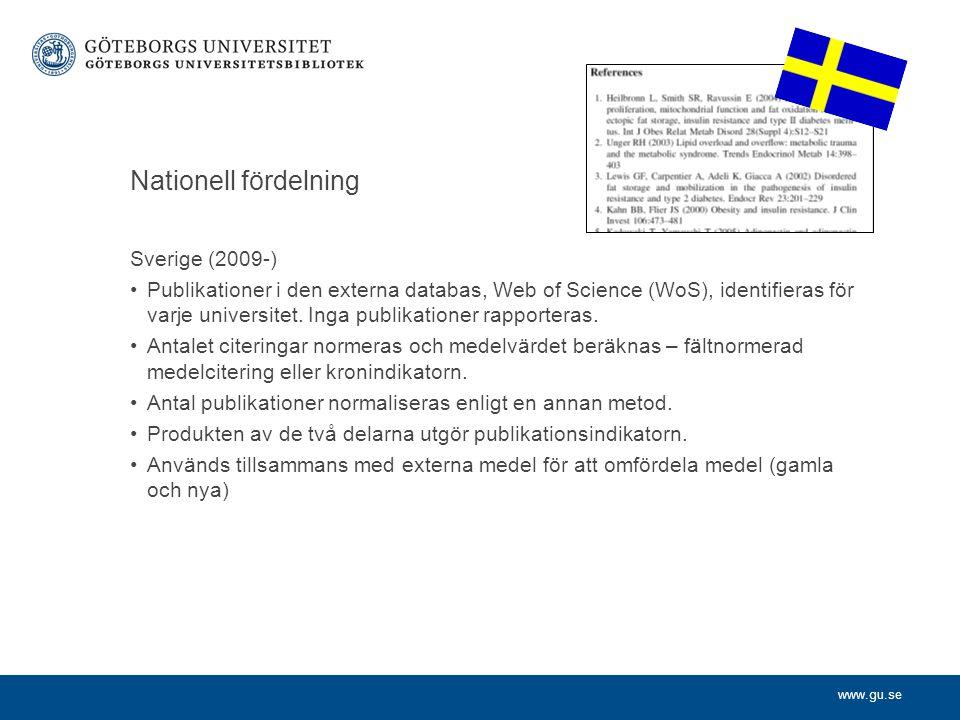 www.gu.se Sverige (2009-) Publikationer i den externa databas, Web of Science (WoS), identifieras för varje universitet. Inga publikationer rapportera