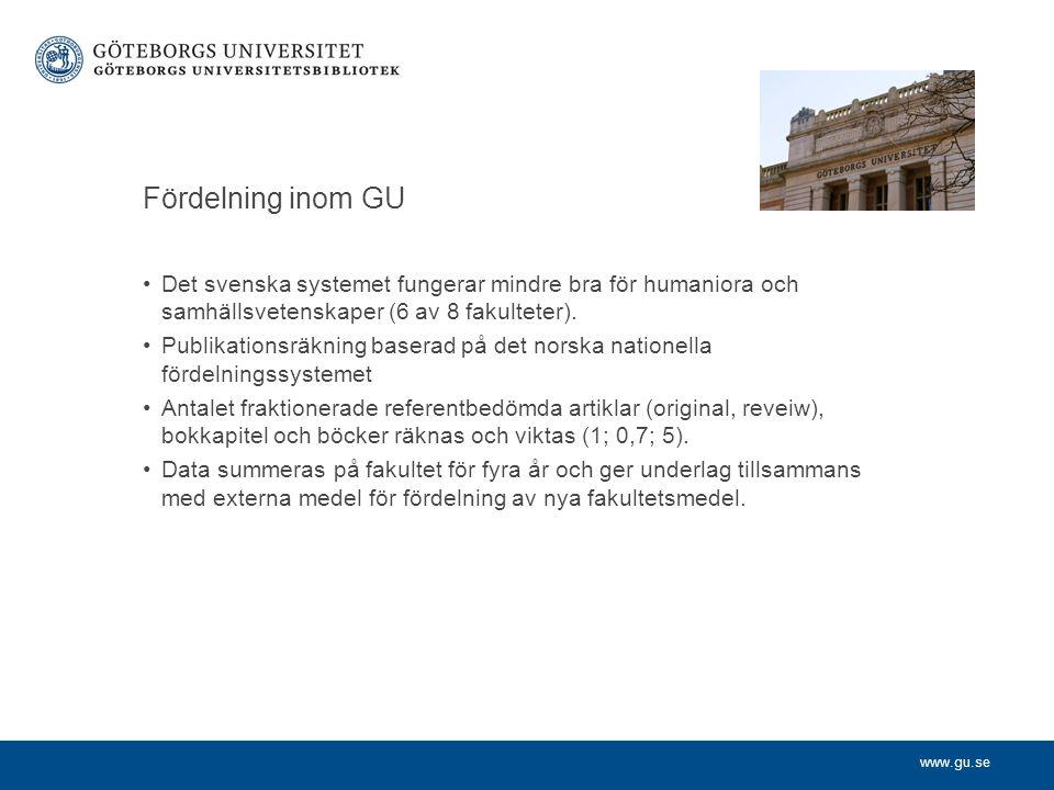 www.gu.se Fördelning inom GU Det svenska systemet fungerar mindre bra för humaniora och samhällsvetenskaper (6 av 8 fakulteter). Publikationsräkning b