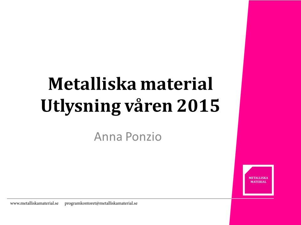 Metalliska material Utlysning våren 2015 Anna Ponzio