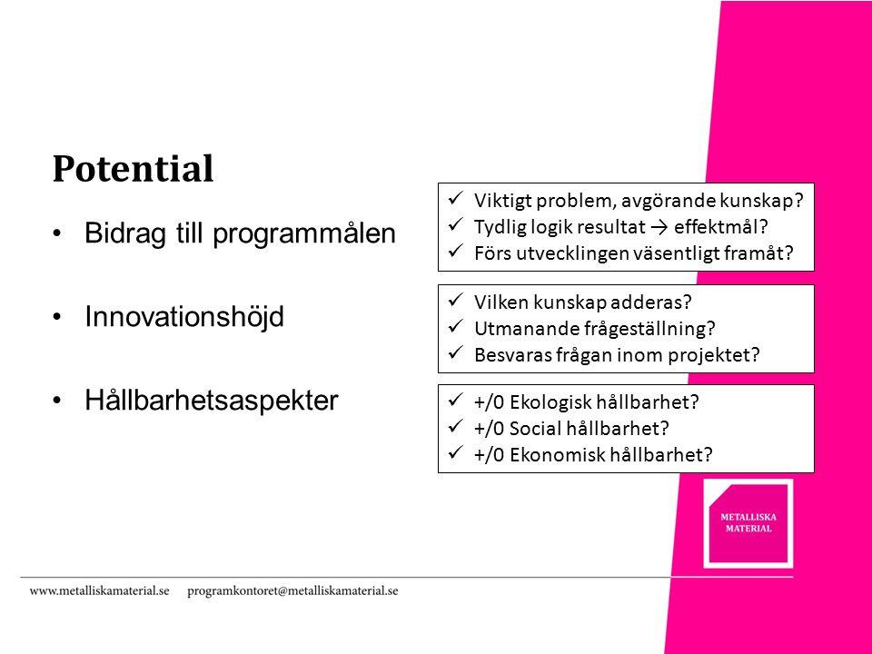 Potential Bidrag till programmålen Innovationshöjd Hållbarhetsaspekter Viktigt problem, avgörande kunskap.