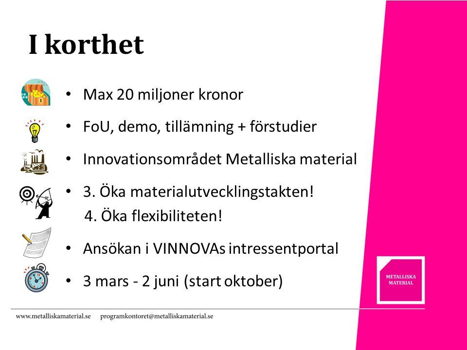 I korthet Max 20 miljoner kronor FoU, demo, tillämning + förstudier Innovationsområdet Metalliska material 3.