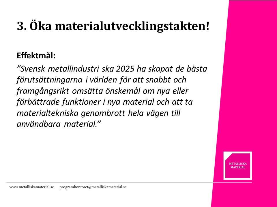 3. Öka materialutvecklingstakten.