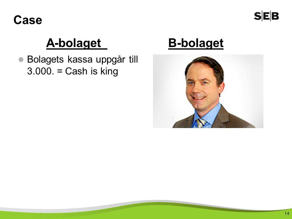 14 Case Bolagets kassa uppgår till 3.000. = Cash is king A-bolagetB-bolaget