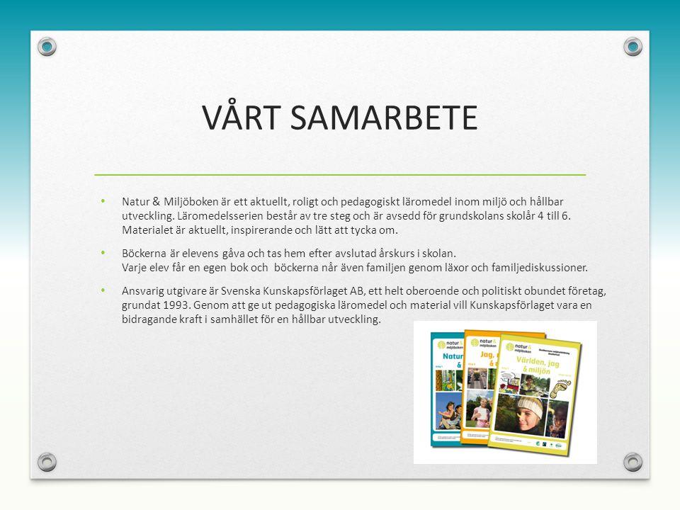 VÅRT SAMARBETE Natur & Miljöboken är ett aktuellt, roligt och pedagogiskt läromedel inom miljö och hållbar utveckling.