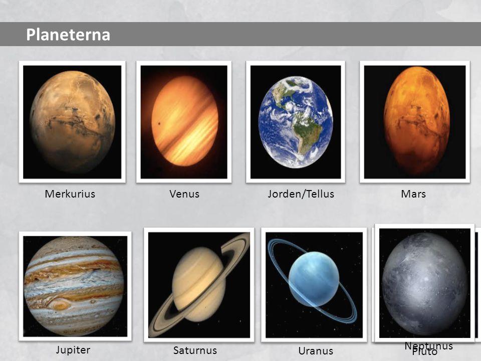 Planeterna MerkuriusVenusMars Pluto Neptunus Jorden/Tellus Saturnus Uranus Jupiter