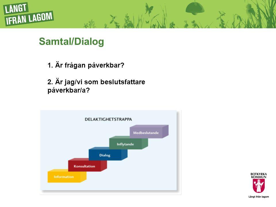 Samtal/Dialog 1. Är frågan påverkbar? 2. Är jag/vi som beslutsfattare påverkbar/a?