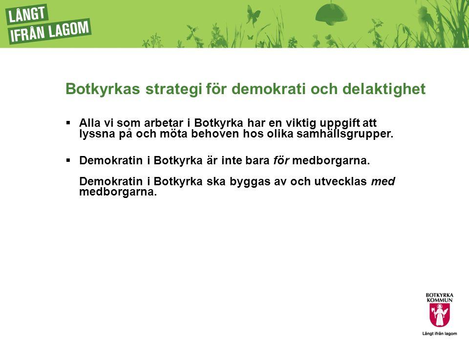 Utvecklingsområden för demokrati och delaktighet 1.Den representativa demokratin 2.Delaktighet och inflytande i Botkyrka 3.Botkyrka samarbetar med civilsamhället 4.