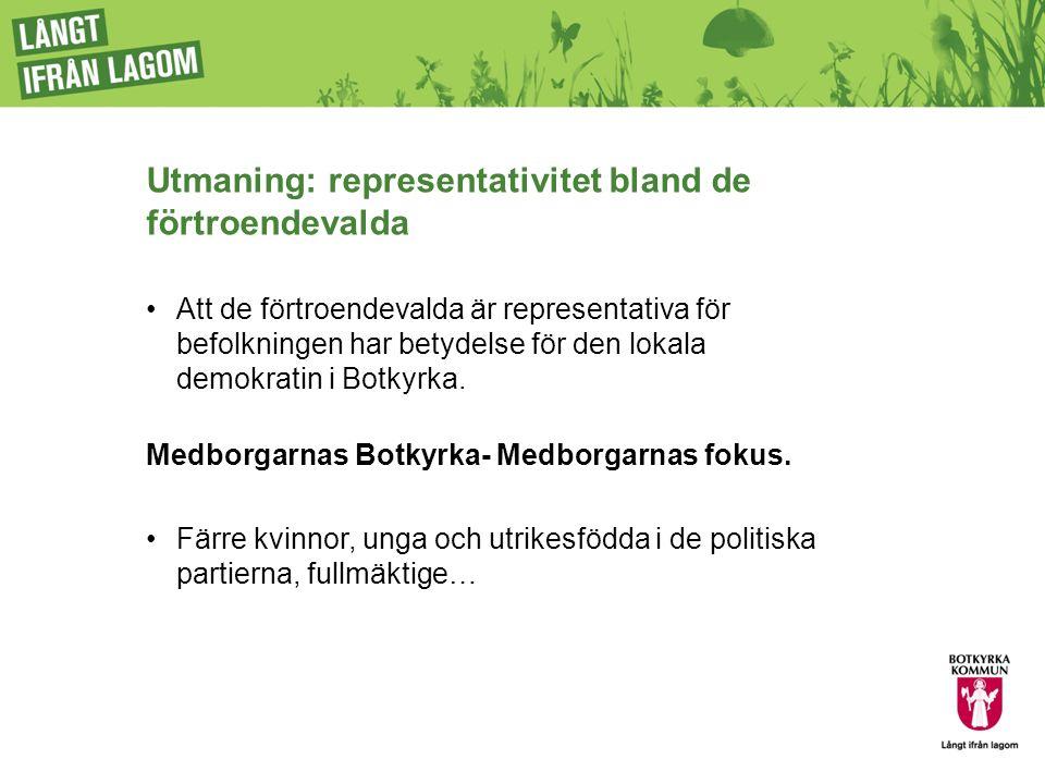 Utmaning: representativitet bland de förtroendevalda Att de förtroendevalda är representativa för befolkningen har betydelse för den lokala demokratin i Botkyrka.