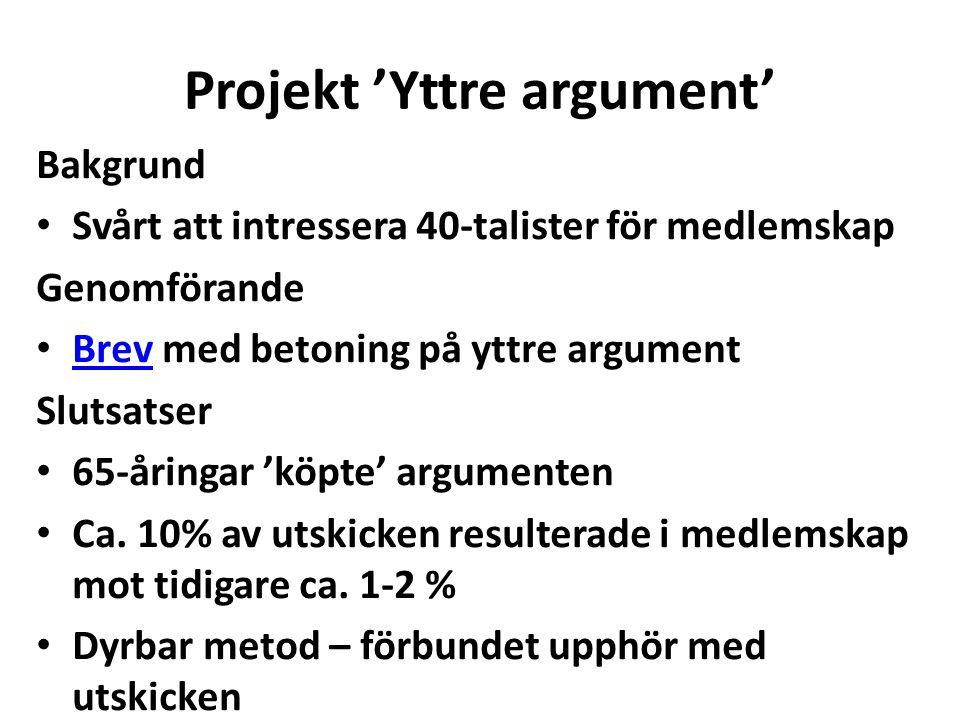 Projekt 'Yttre argument' Bakgrund Svårt att intressera 40-talister för medlemskap Genomförande Brev med betoning på yttre argument Brev Slutsatser 65-
