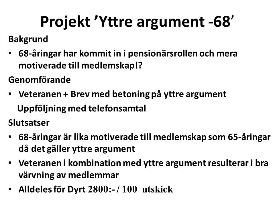 Projekt 'Yttre argument -68' Bakgrund 68-åringar har kommit in i pensionärsrollen och mera motiverade till medlemskap!? Genomförande Veteranen + Brev