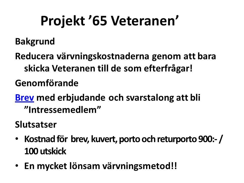 Projekt '65 Veteranen' Bakgrund Reducera värvningskostnaderna genom att bara skicka Veteranen till de som efterfrågar! Genomförande BrevBrev med erbju