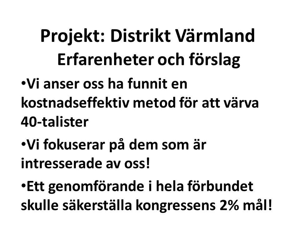Projekt: Distrikt Värmland Erfarenheter och förslag Vi anser oss ha funnit en kostnadseffektiv metod för att värva 40-talister Vi fokuserar på dem som