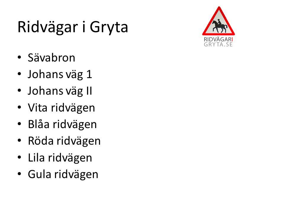 Sävabron Johans väg 1 Johans väg II Vita ridvägen Blåa ridvägen Röda ridvägen Lila ridvägen Gula ridvägen