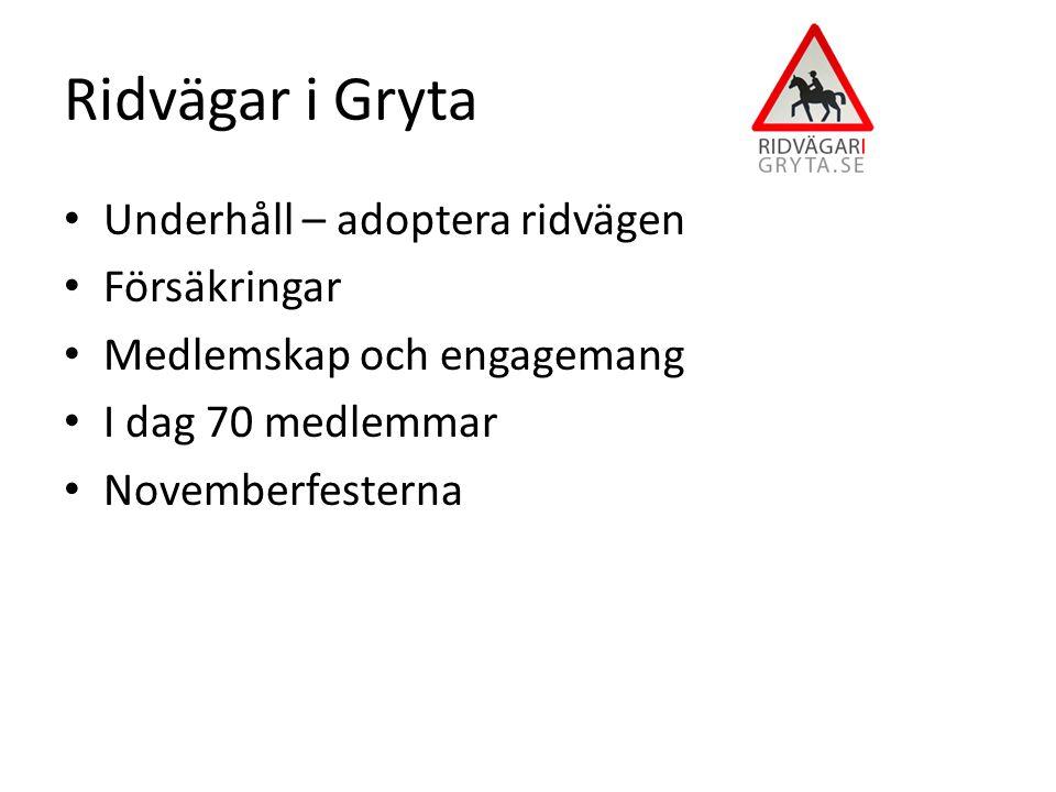Ridvägar i Gryta Underhåll – adoptera ridvägen Försäkringar Medlemskap och engagemang I dag 70 medlemmar Novemberfesterna