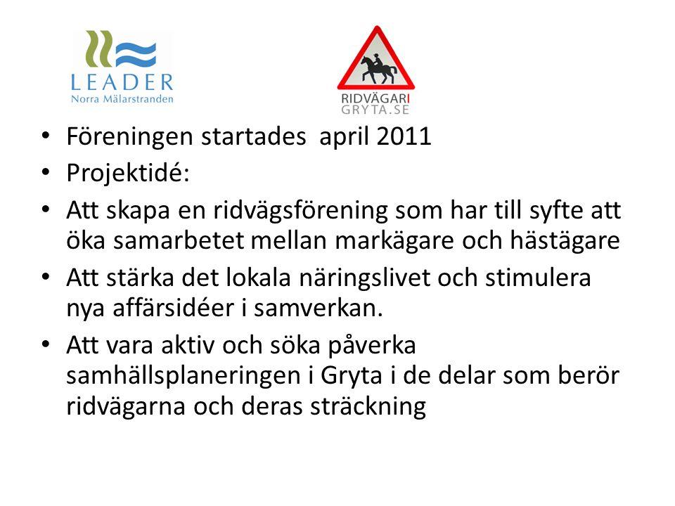 Föreningen startades april 2011 Projektidé: Att skapa en ridvägsförening som har till syfte att öka samarbetet mellan markägare och hästägare Att stär