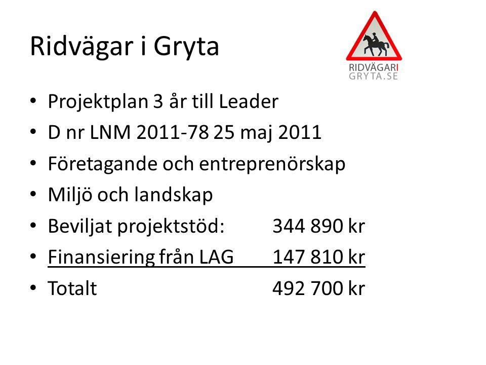 Projektplan 3 år till Leader D nr LNM 2011-78 25 maj 2011 Företagande och entreprenörskap Miljö och landskap Beviljat projektstöd: 344 890 kr Finansiering från LAG 147 810 kr Totalt 492 700 kr