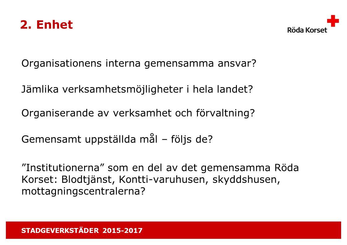 STADGEVERKSTÄDER 2015-2017 2. Enhet Organisationens interna gemensamma ansvar.