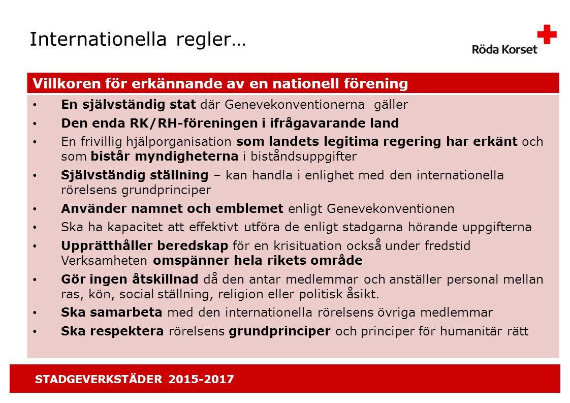 STADGEVERKSTÄDER 2015-2017 2.Enhet Organisationens interna gemensamma ansvar.