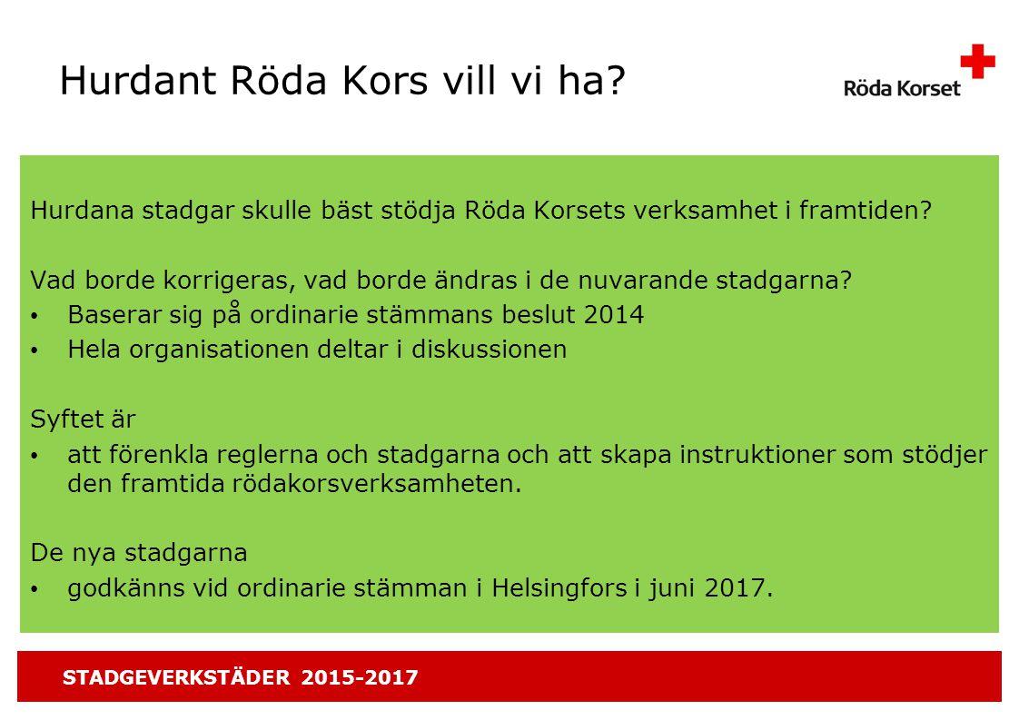 STADGEVERKSTÄDER 2015-2017 Hurdant Röda Kors vill vi ha.