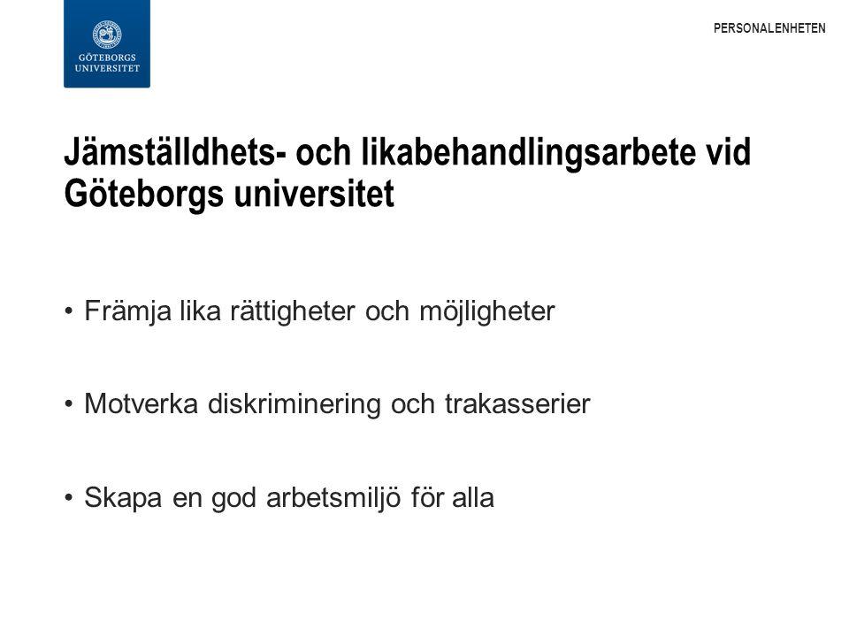Jämställdhets- och likabehandlingsarbete vid Göteborgs universitet Främja lika rättigheter och möjligheter Motverka diskriminering och trakasserier Skapa en god arbetsmiljö för alla PERSONALENHETEN