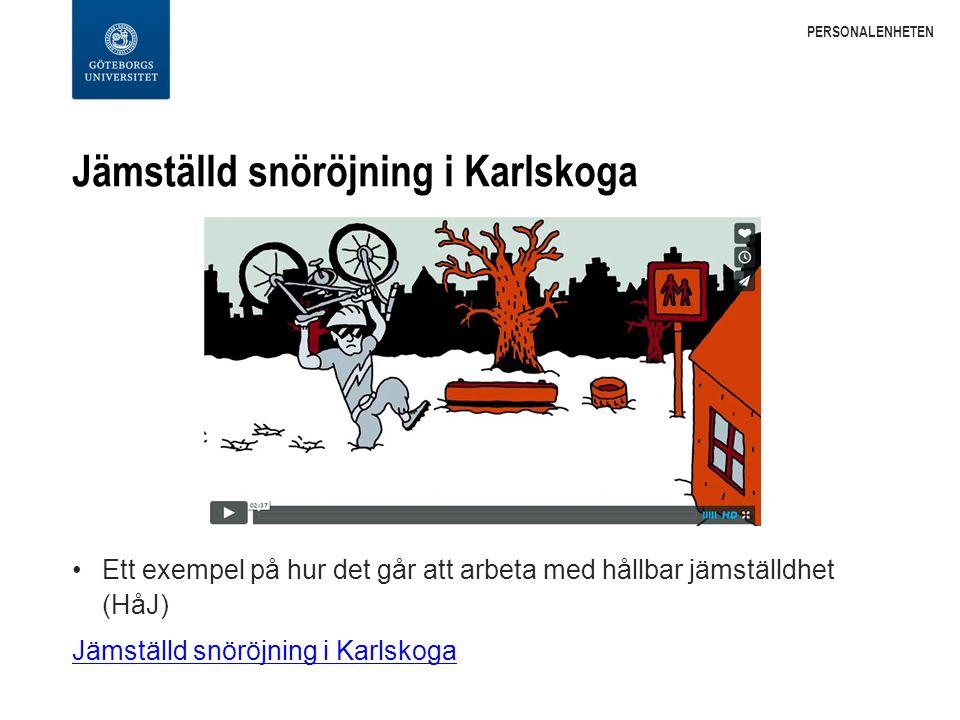 Jämställd snöröjning i Karlskoga Ett exempel på hur det går att arbeta med hållbar jämställdhet (HåJ) Jämställd snöröjning i Karlskoga PERSONALENHETEN