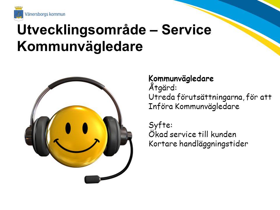 Utvecklingsområde – Service Kommunvägledare Kommunvägledare Åtgärd: Utreda förutsättningarna, för att Införa Kommunvägledare Syfte: Ökad service till