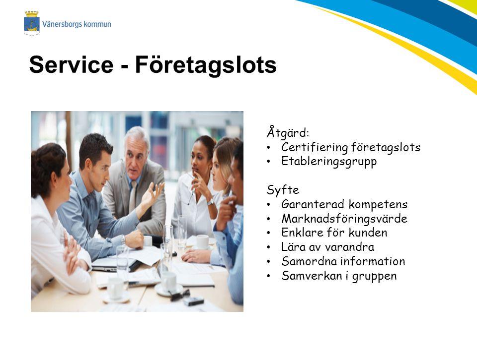 Service - Företagslots Åtgärd: Certifiering företagslots Etableringsgrupp Syfte Garanterad kompetens Marknadsföringsvärde Enklare för kunden Lära av v