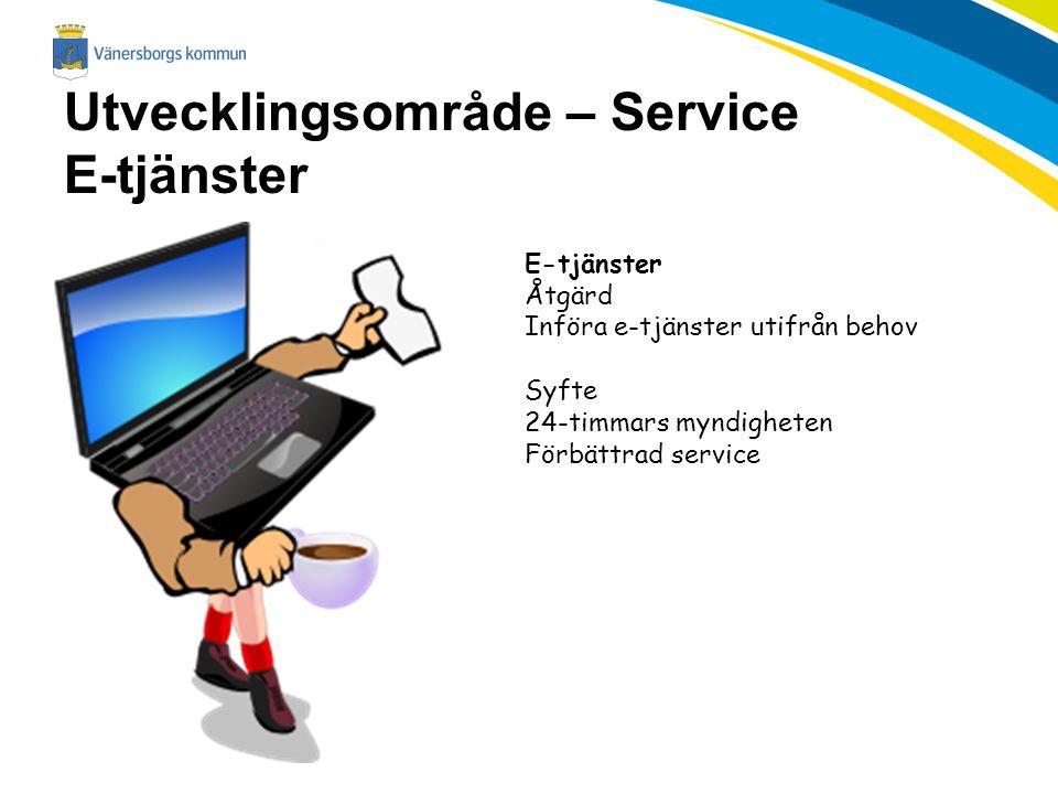 Utvecklingsområde – Service E-tjänster E-tjänster Åtgärd Införa e-tjänster utifrån behov Syfte 24-timmars myndigheten Förbättrad service