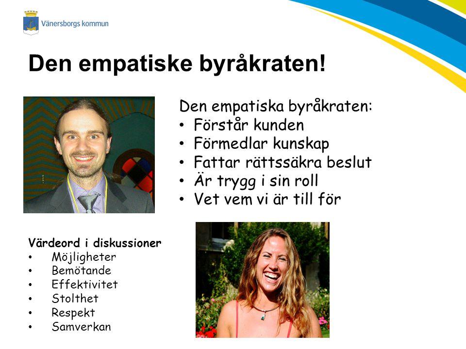 Den empatiske byråkraten! Den empatiska byråkraten: Förstår kunden Förmedlar kunskap Fattar rättssäkra beslut Är trygg i sin roll Vet vem vi är till f