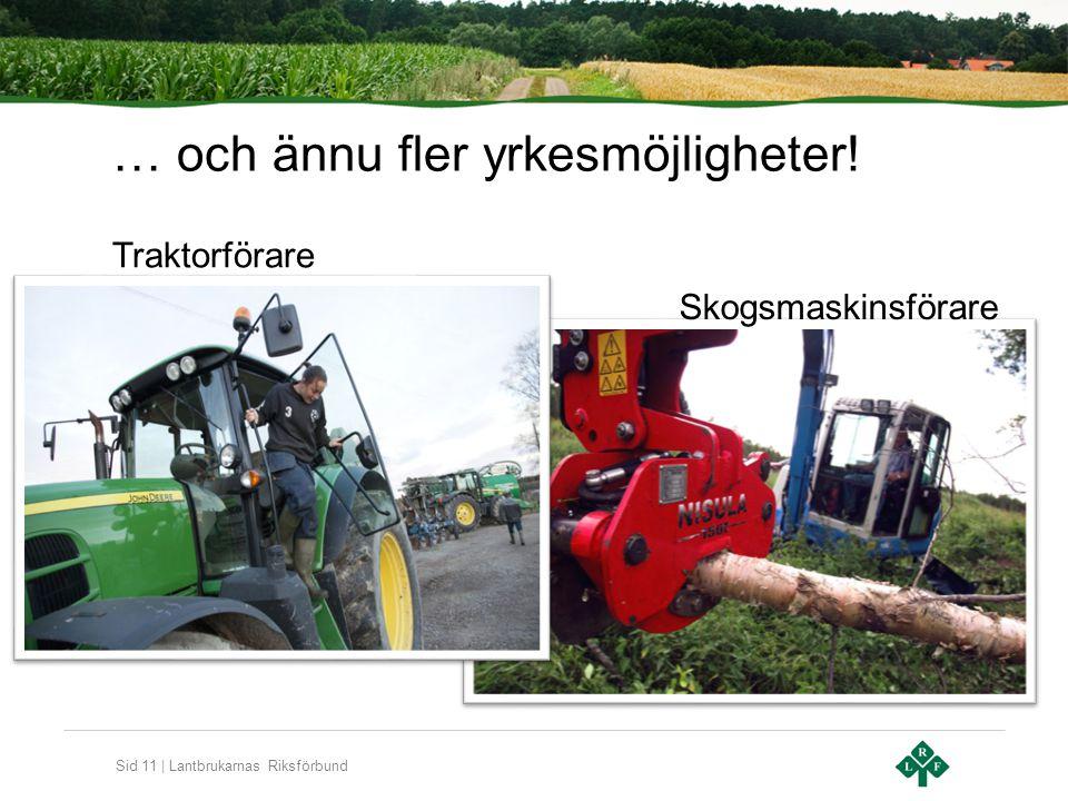 Sid 11 | Lantbrukarnas Riksförbund … och ännu fler yrkesmöjligheter! Traktorförare Skogsmaskinsförare