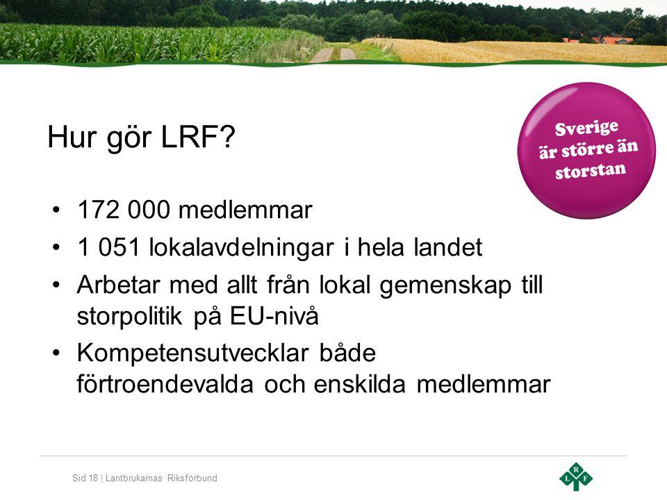Sid 18 | Lantbrukarnas Riksförbund Hur gör LRF? 172 000 medlemmar 1 051 lokalavdelningar i hela landet Arbetar med allt från lokal gemenskap till stor