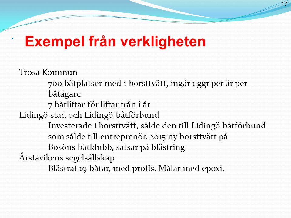 17 Exempel från verkligheten Trosa Kommun 700 båtplatser med 1 borsttvätt, ingår 1 ggr per år per båtägare 7 båtliftar för liftar från i år Lidingö stad och Lidingö båtförbund Investerade i borsttvätt, sålde den till Lidingö båtförbund som sålde till entreprenör.