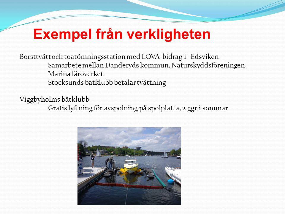 Exempel från verkligheten Borsttvätt och toatömningsstation med LOVA-bidrag i Edsviken Samarbete mellan Danderyds kommun, Naturskyddsföreningen, Marin