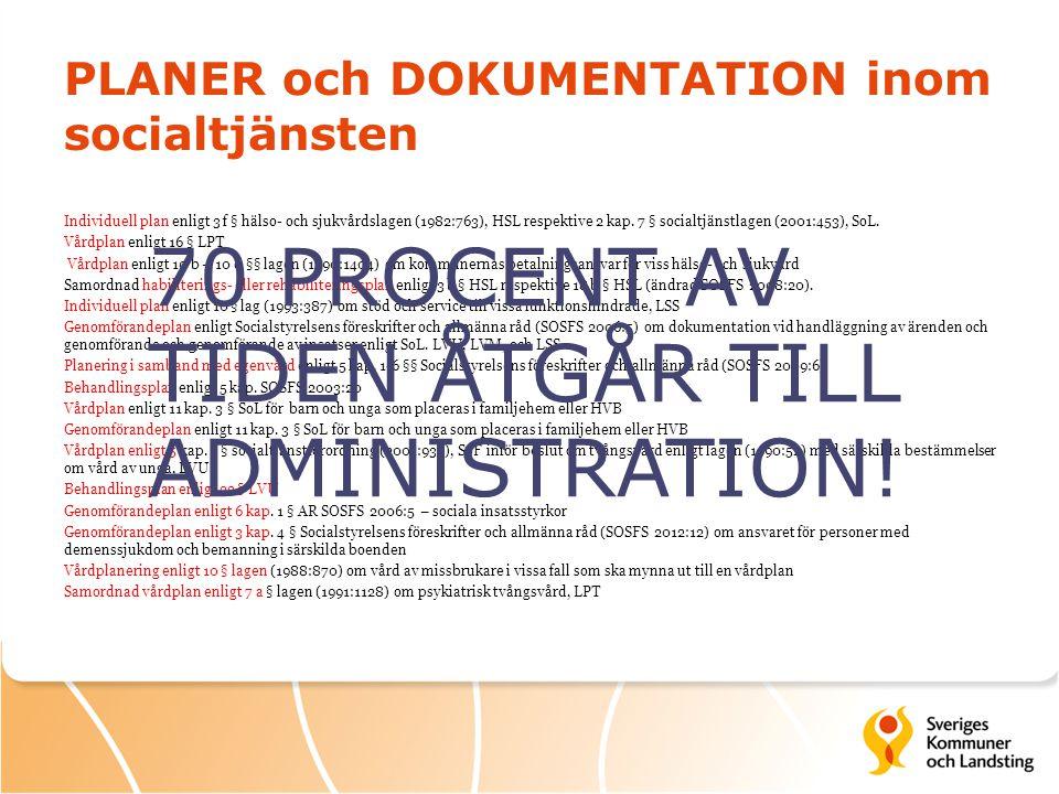 PLANER och DOKUMENTATION inom socialtjänsten Individuell plan enligt 3 f § hälso- och sjukvårdslagen (1982:763), HSL respektive 2 kap. 7 § socialtjäns