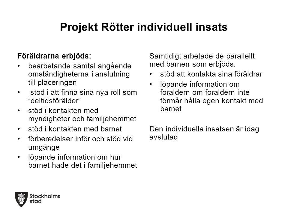 Projekt Rötter individuell insats Föräldrarna erbjöds: bearbetande samtal angående omständigheterna i anslutning till placeringen stöd i att finna sin