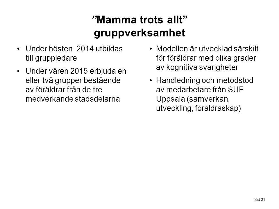 Modellen är utvecklad särskilt för föräldrar med olika grader av kognitiva svårigheter Handledning och metodstöd av medarbetare från SUF Uppsala (samv