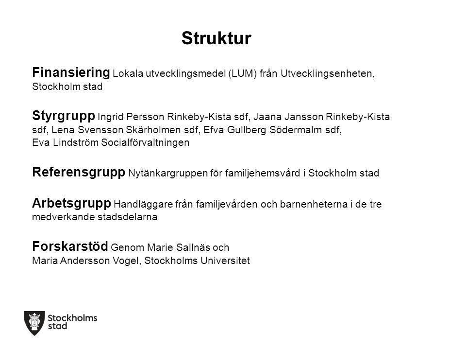 Struktur Finansiering Lokala utvecklingsmedel (LUM) från Utvecklingsenheten, Stockholm stad Styrgrupp Ingrid Persson Rinkeby-Kista sdf, Jaana Jansson