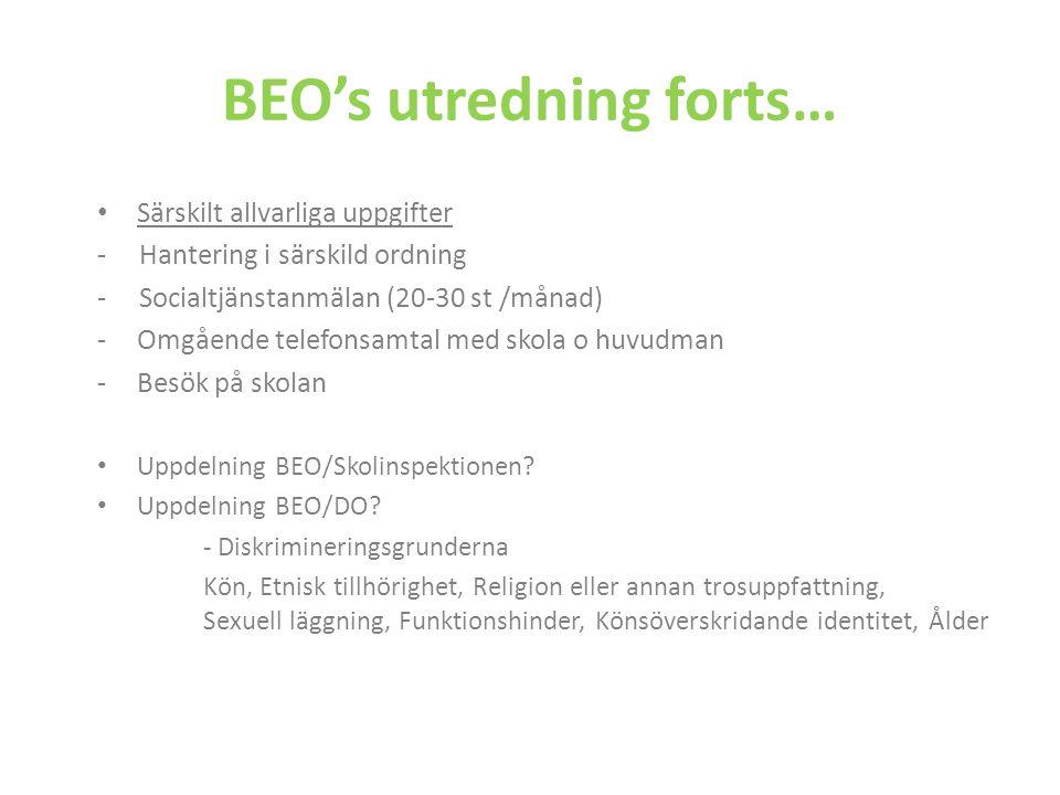 BEO's utredning forts… Särskilt allvarliga uppgifter - Hantering i särskild ordning - Socialtjänstanmälan (20-30 st /månad) -Omgående telefonsamtal me