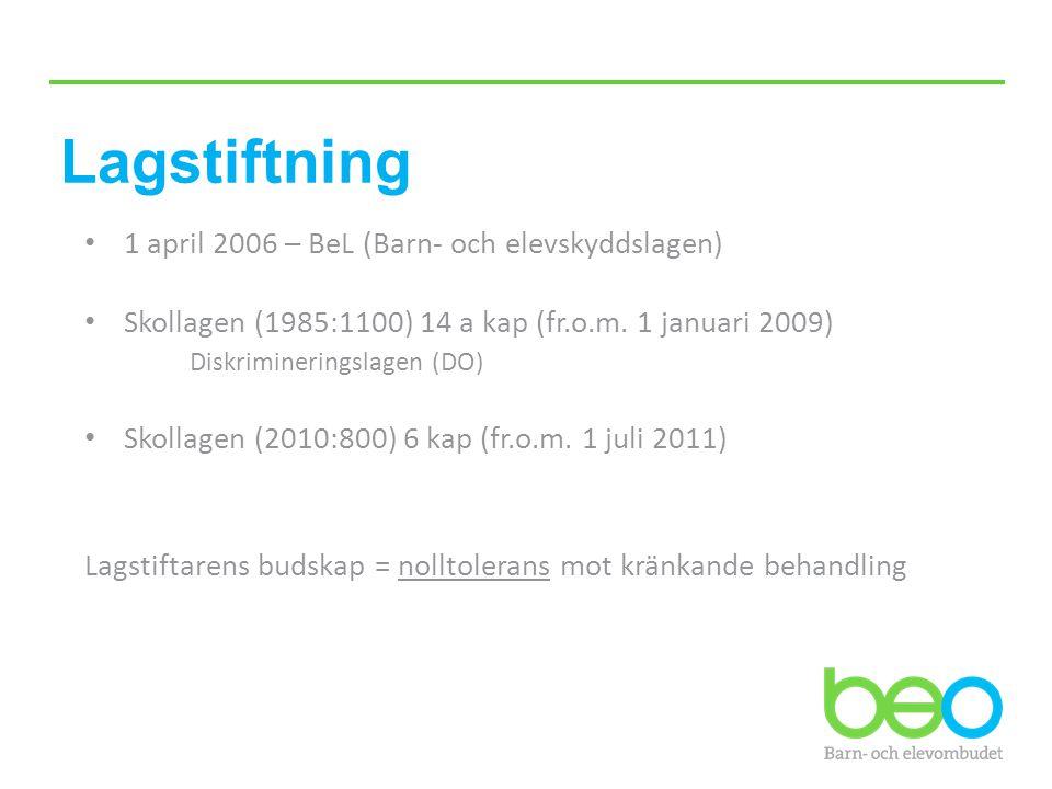 Lagstiftning 1 april 2006 – BeL (Barn- och elevskyddslagen) Skollagen (1985:1100) 14 a kap (fr.o.m. 1 januari 2009) Diskrimineringslagen (DO) Skollage
