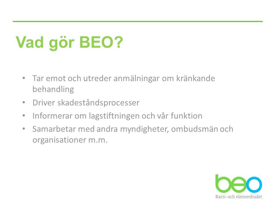 Vad gör BEO? Tar emot och utreder anmälningar om kränkande behandling Driver skadeståndsprocesser Informerar om lagstiftningen och vår funktion Samarb