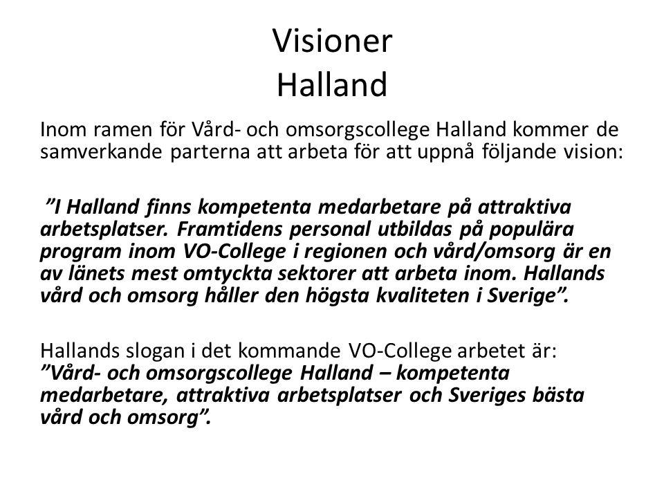 Visioner Halland Inom ramen för Vård- och omsorgscollege Halland kommer de samverkande parterna att arbeta för att uppnå följande vision: I Halland finns kompetenta medarbetare på attraktiva arbetsplatser.
