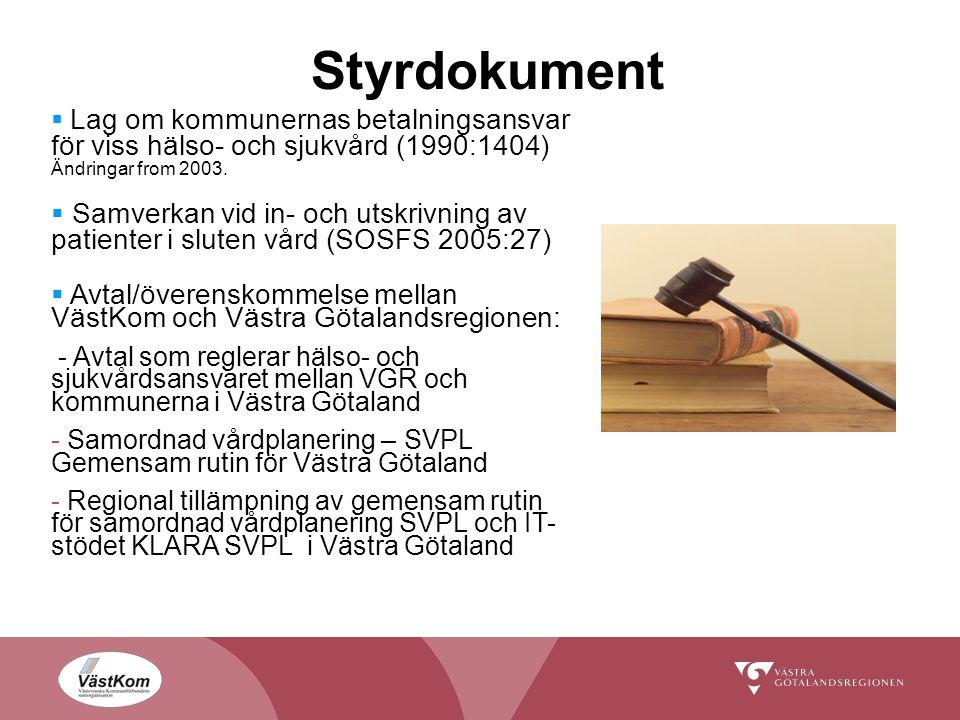 Styrdokument  Lag om kommunernas betalningsansvar för viss hälso- och sjukvård (1990:1404) Ändringar from 2003.  Samverkan vid in- och utskrivning a