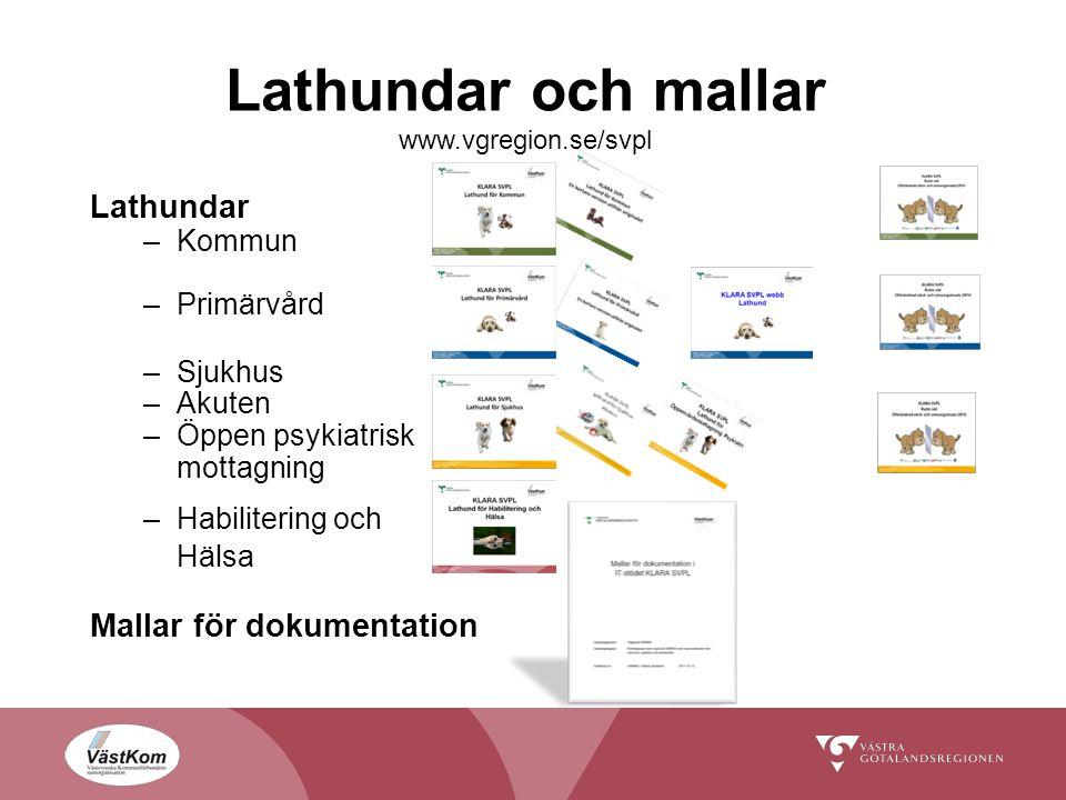 Lathundar och mallar www.vgregion.se/svpl Lathundar –Kommun –Primärvård –Sjukhus –Akuten –Öppen psykiatrisk mottagning –Habilitering och Hälsa Mallar för dokumentation