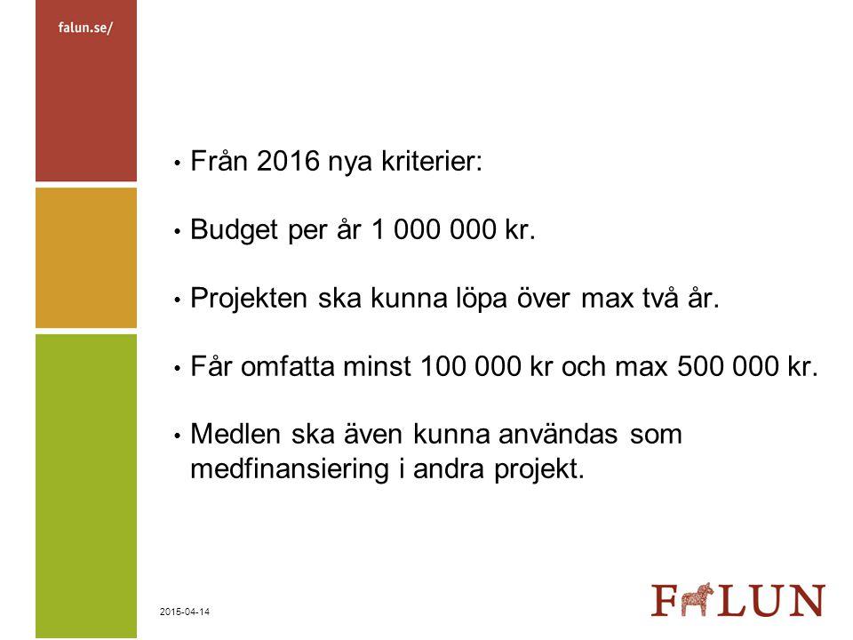 2015-04-14 Från 2016 nya kriterier: Budget per år 1 000 000 kr. Projekten ska kunna löpa över max två år. Får omfatta minst 100 000 kr och max 500 000