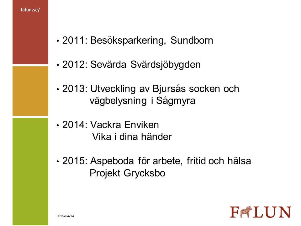 2015-04-14 2011: Besöksparkering, Sundborn 2012: Sevärda Svärdsjöbygden 2013: Utveckling av Bjursås socken och vägbelysning i Sågmyra 2014: Vackra Env